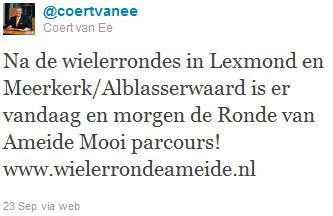 Tweet burgemeester Zederik, hij blikt vooruit op mooie Wielerronde in Ameide.