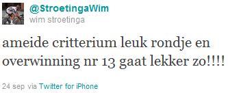 Tweet Wim Stroetinga na zijn winst bij de Elite / Beloften in de Wielerronde van Ameide 2011