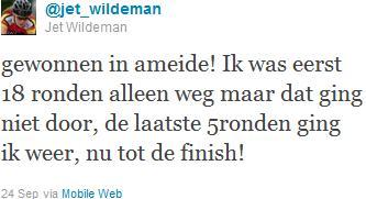 Tweet Jet Wilderman na haar winst bij de Junior-dames in de Wielerronde van Ameide 2011